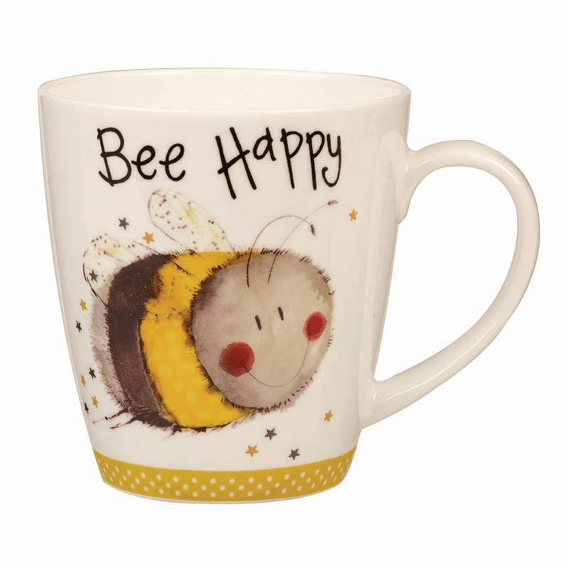 Bee Happy Bone China Cherry Mug