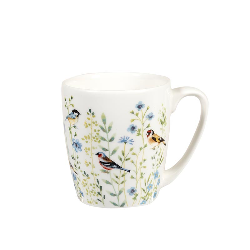 Aquarelle Bird Watch Blue Acorn Mug
