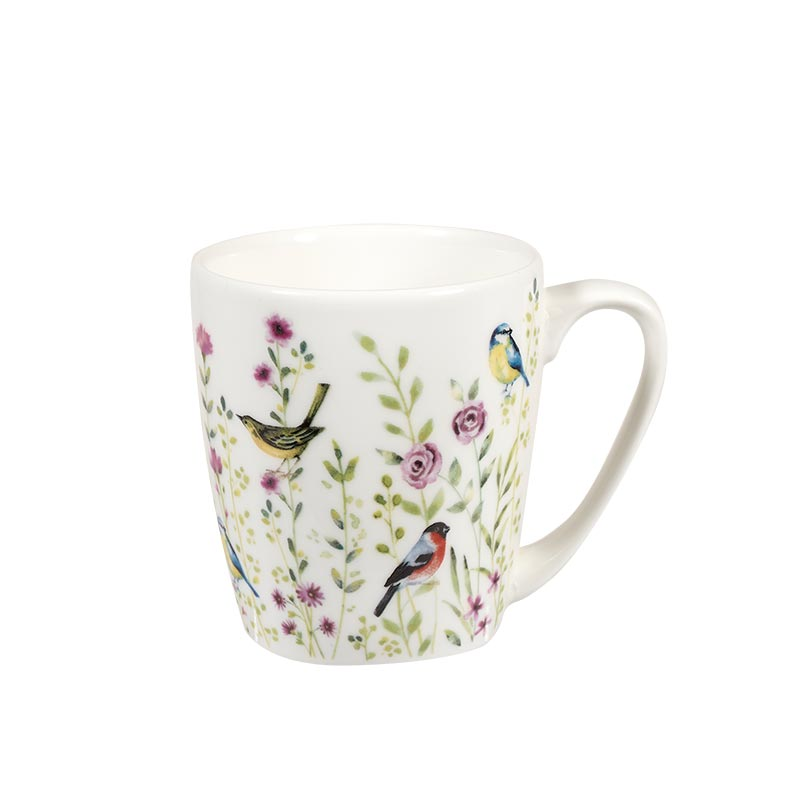 Aquarelle Bird Watch Pink Acorn Mug