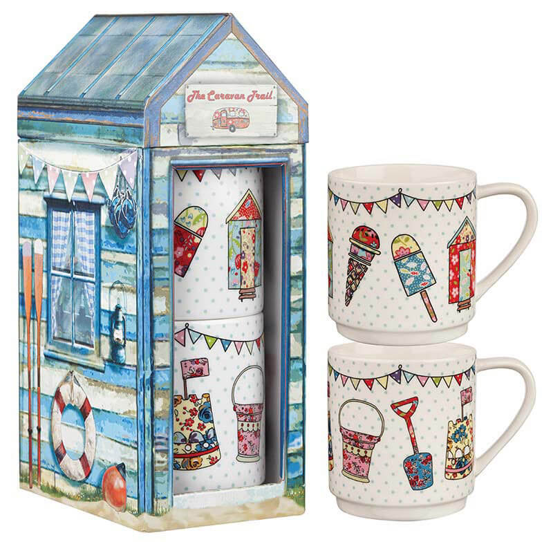 Beach Huts Set of 2 Stacking Mugs