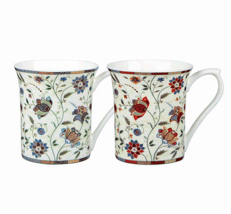 Queens Indian Silk Mugs