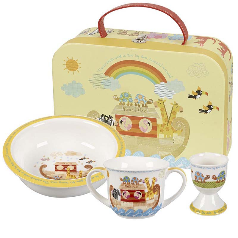 Noahs Ark mug, porringer and egg cup set