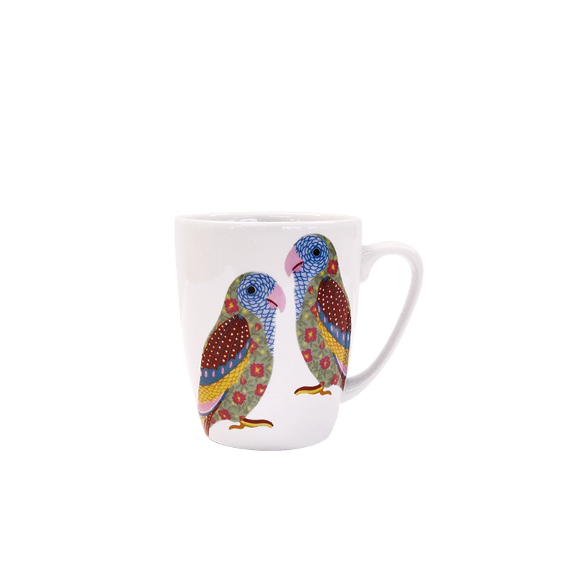 Paradise Birds Love Birds Oak Mug