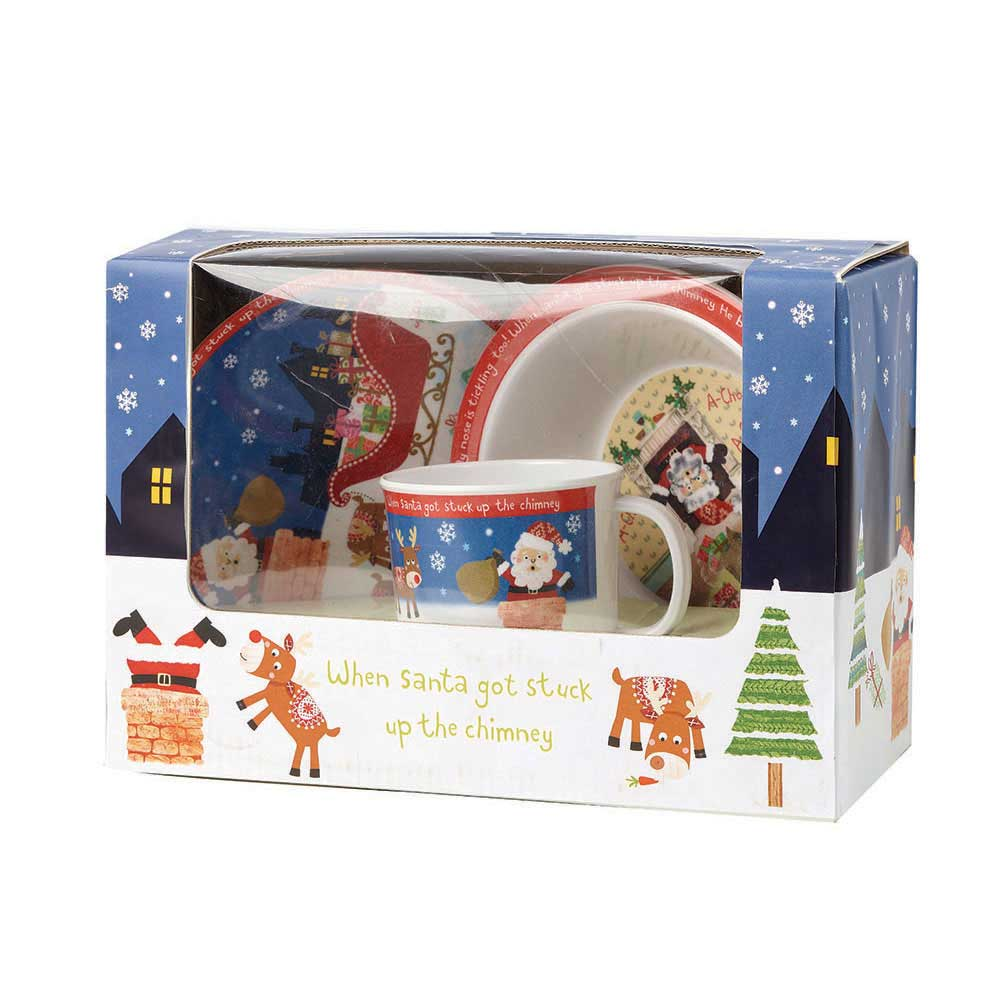 Little Rhymes Santa Got Stuck 3 Piece Melamine Set